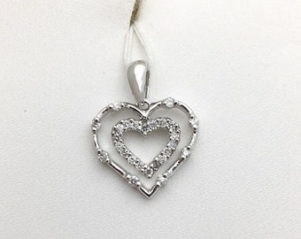 Really Pretty Double Heart with Diamonds Pendant - 14K White Gold