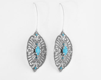 Long Silver Filigree Leaf Earrings With Turquoise - Bridal Crystal Earrings - Silver Bridal Earrings - Bridal Leaf Earrings