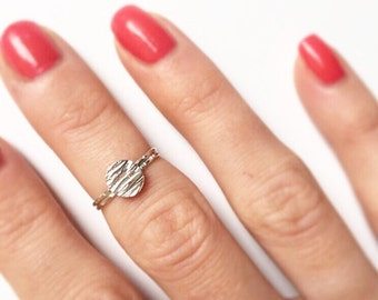 MEADOW MIDI RING - Sterling Silver Hammered Midi Ring - Signet Textured Skinny Ring - Silver Pinky Ring