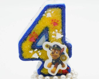 Paw Patrol Candle / Paw Patrol birthday candle / Paw patrol Chase / Paw Patrol Birthday / Paw Patrol theme / Paw Patrol Party / Chase candle