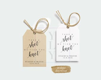 Editable Take A Shot We Tied The Knot Tags, Custom Tags, Printable Favor Tags, Instant Download, DIY Tags, Favor Tag Template