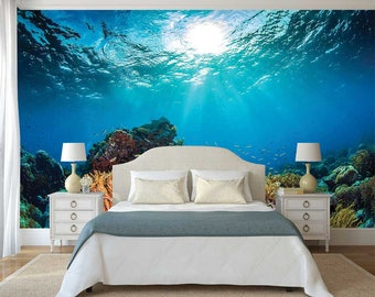 Underwater Wall Decal, Corals Wall Mural, Self Adhesive Vinyl, Underwater Wall Sticker