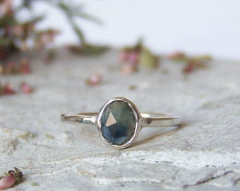 Custom Sapphire ring, rose cut sapphire ring, greenish blue sapphire ring, delicate ring, stacking ring, For Order