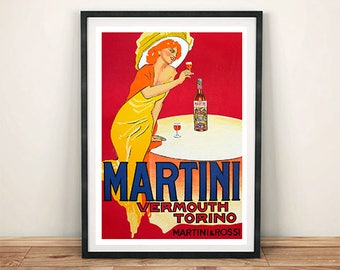 MARTINI POSTER: Vintage Red Vermouth, Alcohol Advert Reprint