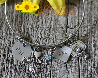Basketball Bracelet - I Love Basketball - Sports Mom Bracelet - Basketball Bangle Gift - Basketball Mother Custom Bracelet - Hand Stamped