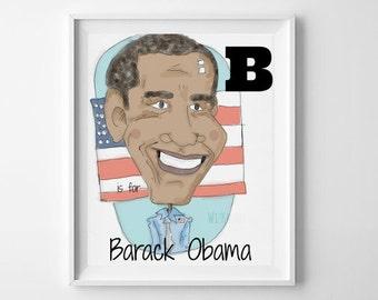 Barack Obama Art Print - Nursery Decor - Children's Illustration