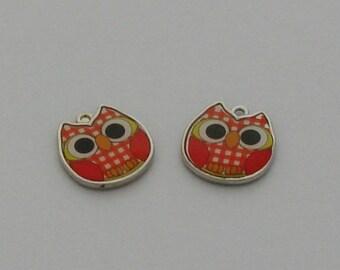Enamel OWL Pendant 1 orange Plaid - Ref: EA 703