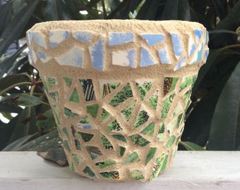 Mosaic Flower Pot, The Sky's  the Limit, made from recycled pottery