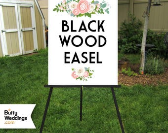 BLACK Easel . Large Wooden Floor Easel Hand Painted Metallic & Glitter Paint Custom Colors . Wedding Sign Stand Holds up to 30 x 40in Signs