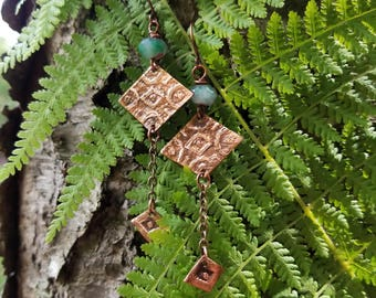Handmade etched copper and bronze earrings