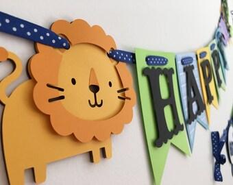 Green/Blue/Yellow Jungle banner, Safari banner, zoo animals theme banner