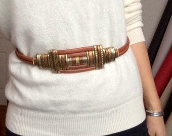 Metal Work Leather Belt, Honey Brown, Brass, Copper, Statement, Hand Made Vintage 70s