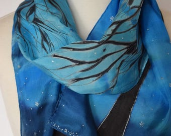 Blue tree scarf, hand painted blue silk scarf