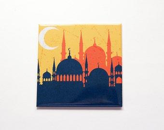 Mosque magnet, Fridge magnet, mosque, islam, minaret magnet, Masjid, Skyline, Islamic Magnet, Large square magnet (7208)
