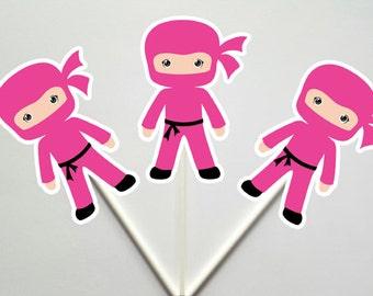 Ninja Cupcake Toppers, Girl Ninja Cupcake Toppers (93016951P)