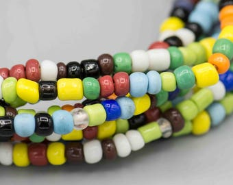 African Ghana Glass Mixed Seed Beads