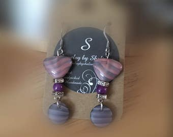 Glass Beads Stripes Spring Earrings