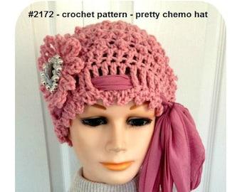 CROCHET HAT PATTERN - Pretty Chemo Hat, Beanie Touque, Adult size, #2172, hat crochet pattern, crochet patterns