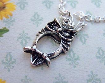 Owl Necklace Owl Jewelry Silver Owl Necklace