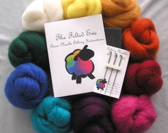 Custom 10 Color Needle Felting Wool Roving Kit