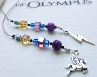 Bookmark with Lighting Bolt and Pegasus Charms- Percy Jackson Book Thong - Heroes of Olympus Camp Half Blood with Lightning Bolt Charm