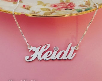 Silver Name Necklace Birthstone Jewelry Customized Gift Birthstone Necklace Silver Name Chain Any Name Necklace Heidi Necklace Gift For Her