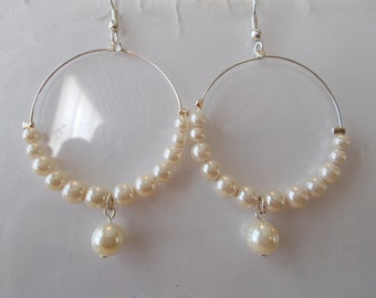 Silver Tone Hoop Earrings with White Sea Shell Pearls