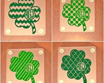 St. Patrick's Day Coasters, St. Patrick's Day, Personalized Coasters, Monogram Coasters, St. Patricks Day Decorations