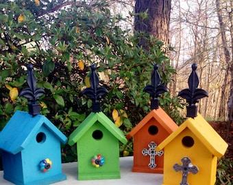 painted birdhouses, birdhouse outdoor, wooden birdhouse,country garden birdhouse, rustic birdhouse,  birdhouse, birdhouse for sparrows