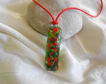 Necklace rectangular clay polymer clay and resin red cord