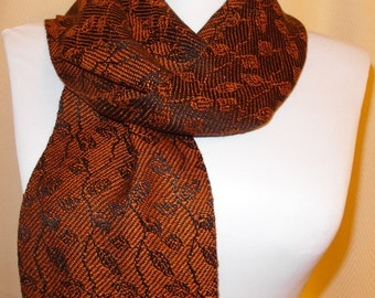 Handwoven Scarf, Hand Woven Tencel Scarf, Tencel Scarf, Woven Scarf, Leaves & Vines in Copper-Black - Woven Tencel Scarf - #13-09