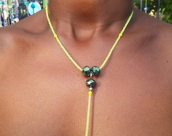 NEON custom made body chain, Preciosa seed beads, yellow crystals, rad item details and leave size of the central part