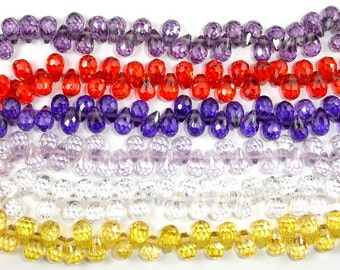 Cubic Zirconia Beads, CZ bead, 4 x 6 mm Faceted Teardrop Beads, 3 Inch, 1 strand, 30 beads, Hole 0.6 mm, A quality (DR0406)