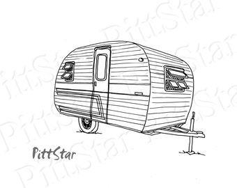 Camper Coloring Page Etsy