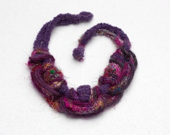 Purple rustic necklace, OOAK fiber jewelry, knitted statement necklace with bamboo beads