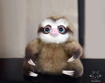 Sloth ( made to order)  stuffed animal cute doll fantasy art  figurine doll plush animal OOAK Handmade Fantasy Creature