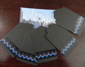 5 strong black 7 x 4 cm decorated with masking tape-zig zag