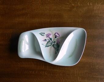 Vintage Carlton Ware, Australian Design, Serving Dish, Hand Painted, Convolvulus, Morning Glory, Green