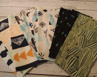 SALE, Fabric Grab Bag, All New Southwestern, Cactus, Tee Pee, 25 pieces, Bag 51A