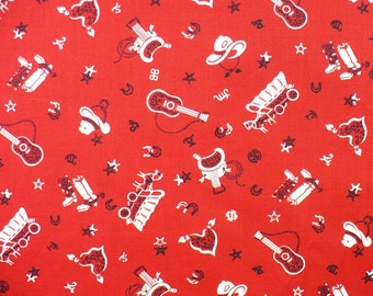 Western Fabric, Bandana, Vintage, Red Bandana, 39 x 41, OOP, Quilting, Sewing, Blanket top
