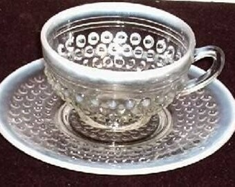 Anchor Hocking Moonstone Cup and Saucer by Anchor Hocking Hobnail Opalescent Pattern Glass Tea or Coffee Cup