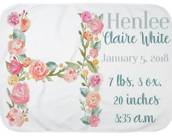 Baby Announcement Blanket, Birth Stats Blanket, Personalized Baby blanket, Newborn Photo prop blanket