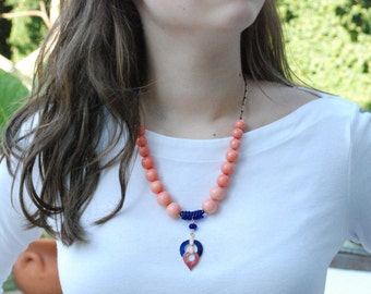 PEACH BLOSSOM SPRING Handmade Unique Necklace Using Vintage Pendant and Beads in Coral and Cobalt Blue