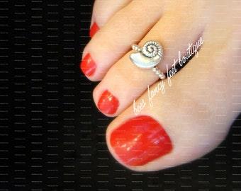 Shell Toe Ring, Shell Ring, Silver Shell Toe Ring, Silver Shell Ring, Silver Ring, Silver Toe Ring, Stretch Bead Toe Ring