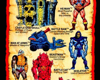 80's Cartoon Classic He-Man & the Masters of the Universe Toy Art custom tee Any Size Any Color
