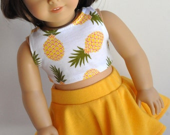 18 Inch Doll Clothes Pineapple Print Crop Top made to fit dolls such as American Girl