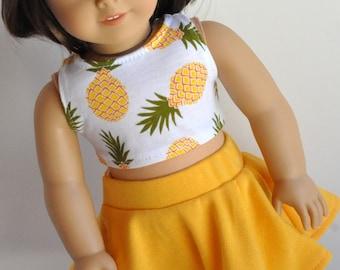 Poupée Vêtements ananas impression Crop Top faite pour s'adapter à des poupées comme American Girl de 18 pouces