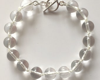 Natural Quartz 10mm Bead Knotted Bracelet with Sterling Silver Toggle Clasp