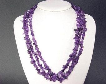 "Necklace Amethyst 22"" 3 Strands Chip Beads NSAT1337"