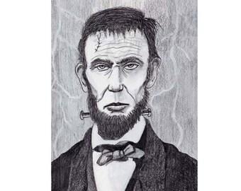 Frankenstein Lincoln Inktober Original Art Print Halloween Drawing Illustration Giclee Print
